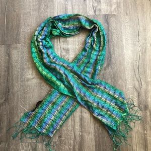 Missoni Green Multi Crochet Knit Fringe Scarf